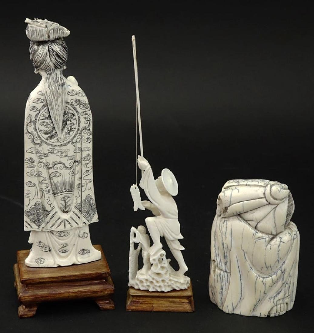 Grouping of Three (3) Oriental Carved Ivory Figures. - 3