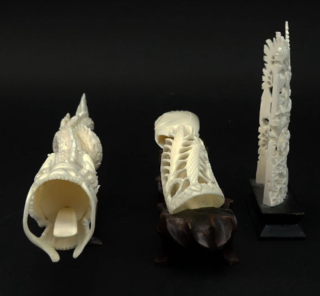 Lot of Three (3) Oriental Carved Ivory Groupings on - 3