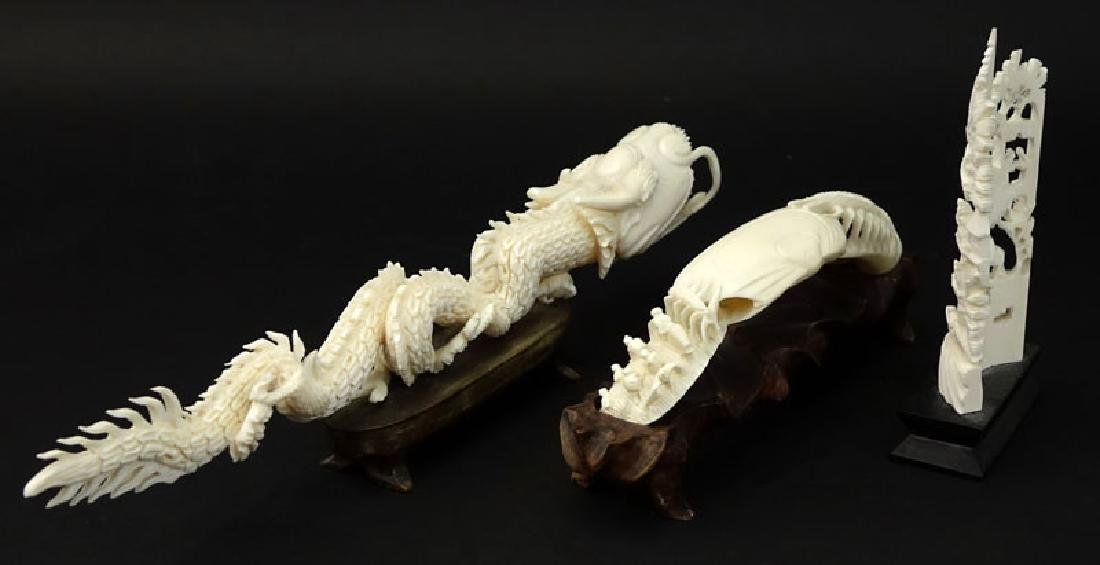 Lot of Three (3) Oriental Carved Ivory Groupings on - 5