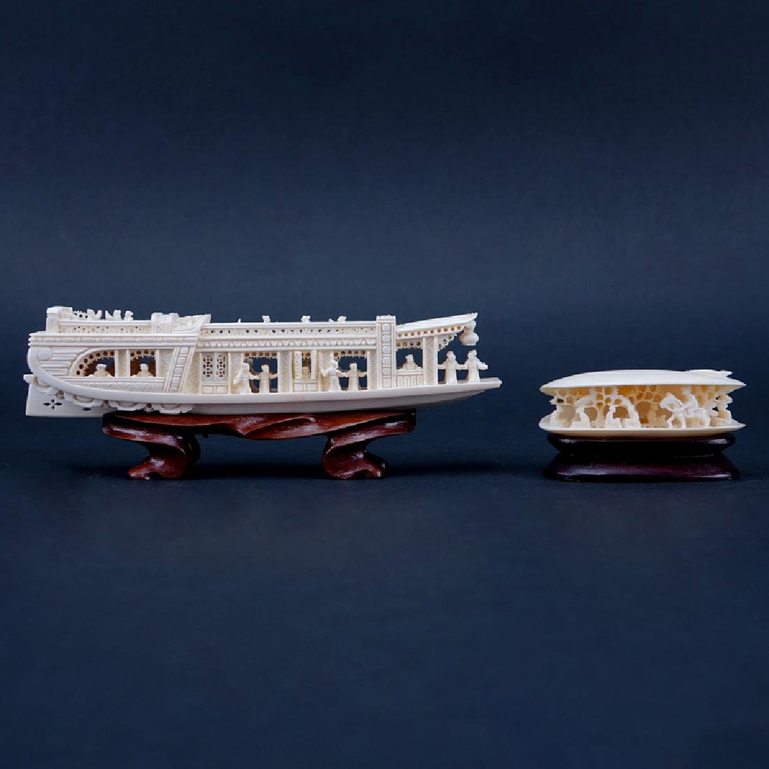 Antique Chinese Ivory Junk Ship and Clam Shell Carvings