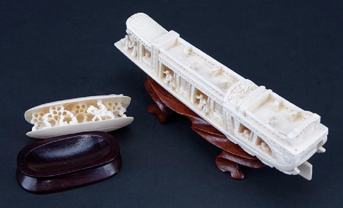 Antique Chinese Ivory Junk Ship and Clam Shell Carvings - 2