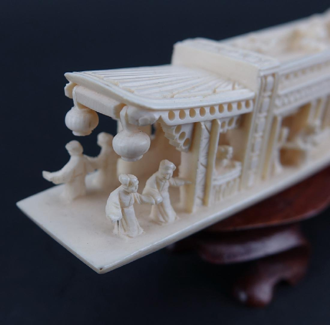 Antique Chinese Ivory Junk Ship and Clam Shell Carvings - 4