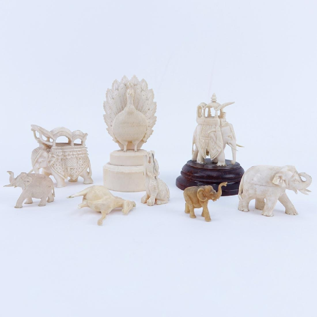 Collection of Nine (9) Carved Ivory Animals. Includes