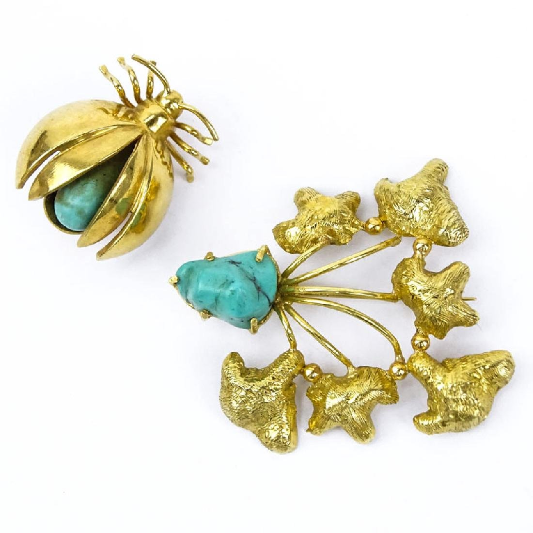 Two Vintage 18 Karat Yellow Gold and Turquoise