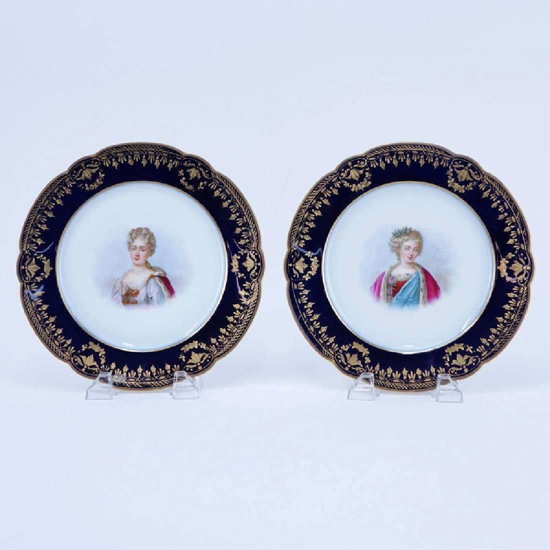 Two (2) Sevres Hand Painted Porceain Portrait Cabinet