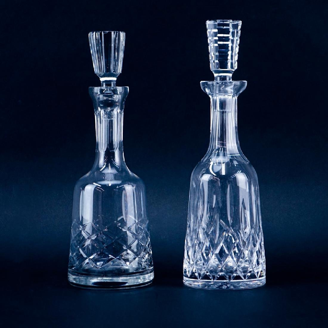 Two (2) Crystal Decanters. One Waterford Lismore,