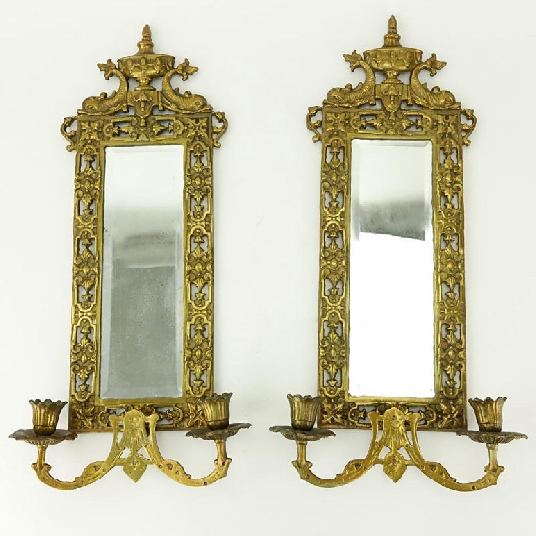 Pair of Empire Style Gilt Brass Mirrored Two Arm Wall