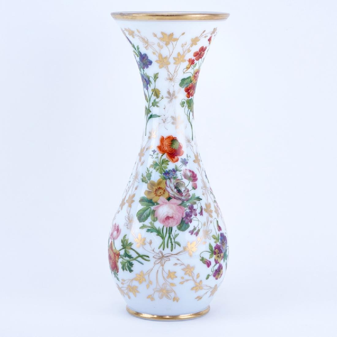 Large Hand Painted Opaline Glass Vase. Decorated with