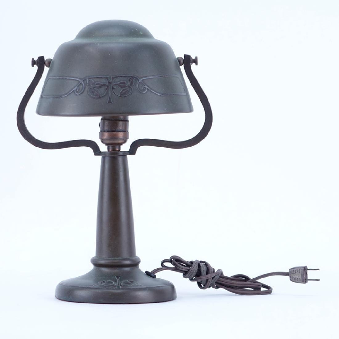 Arts and Craft Copper Desk Lamp. Remnants of a label on
