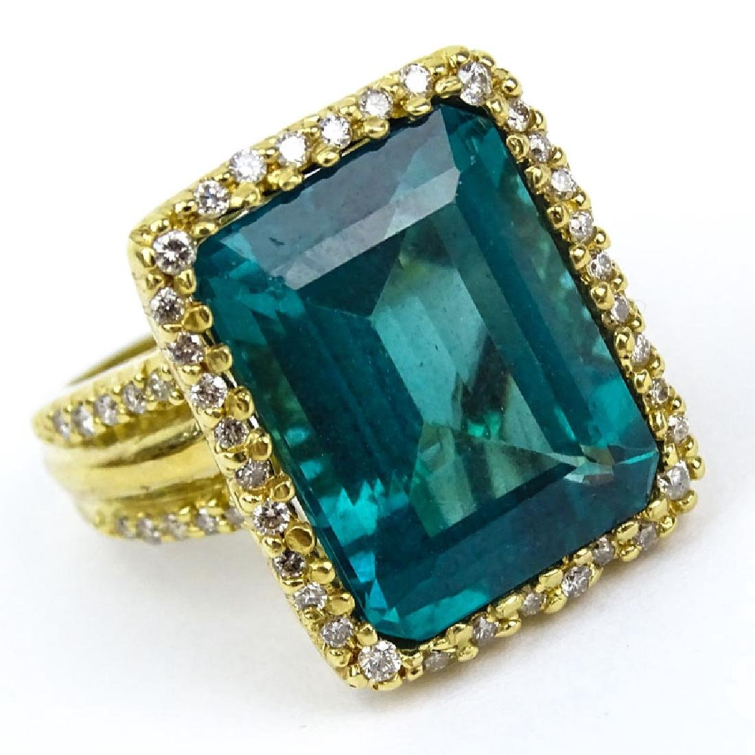 Rare Approx. 18.0 Ct Emerald Cut Brazilian Paraiba Ring