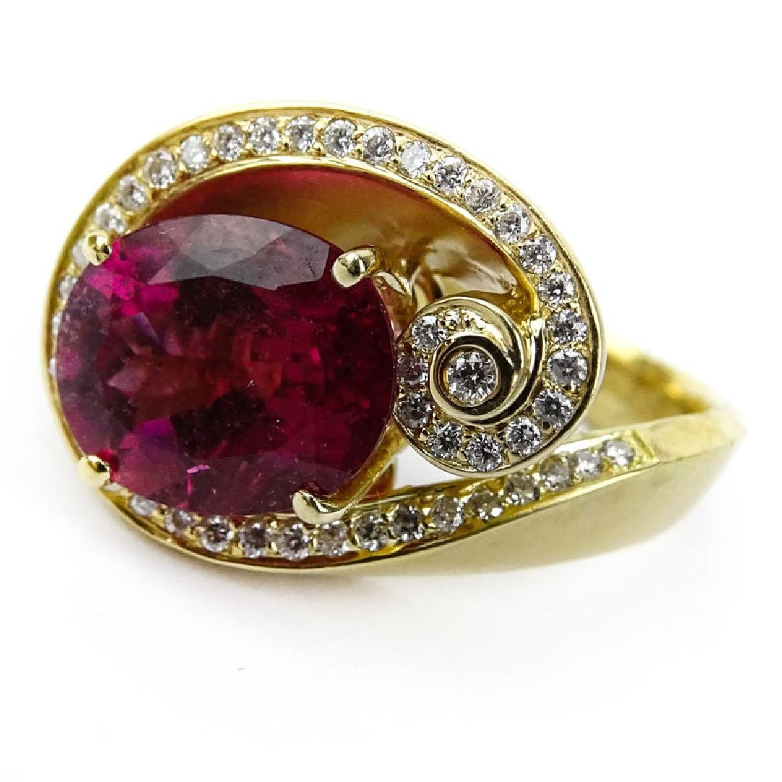 Vintage Oval Cut Rubelite Tourmaline, Diamond and 18