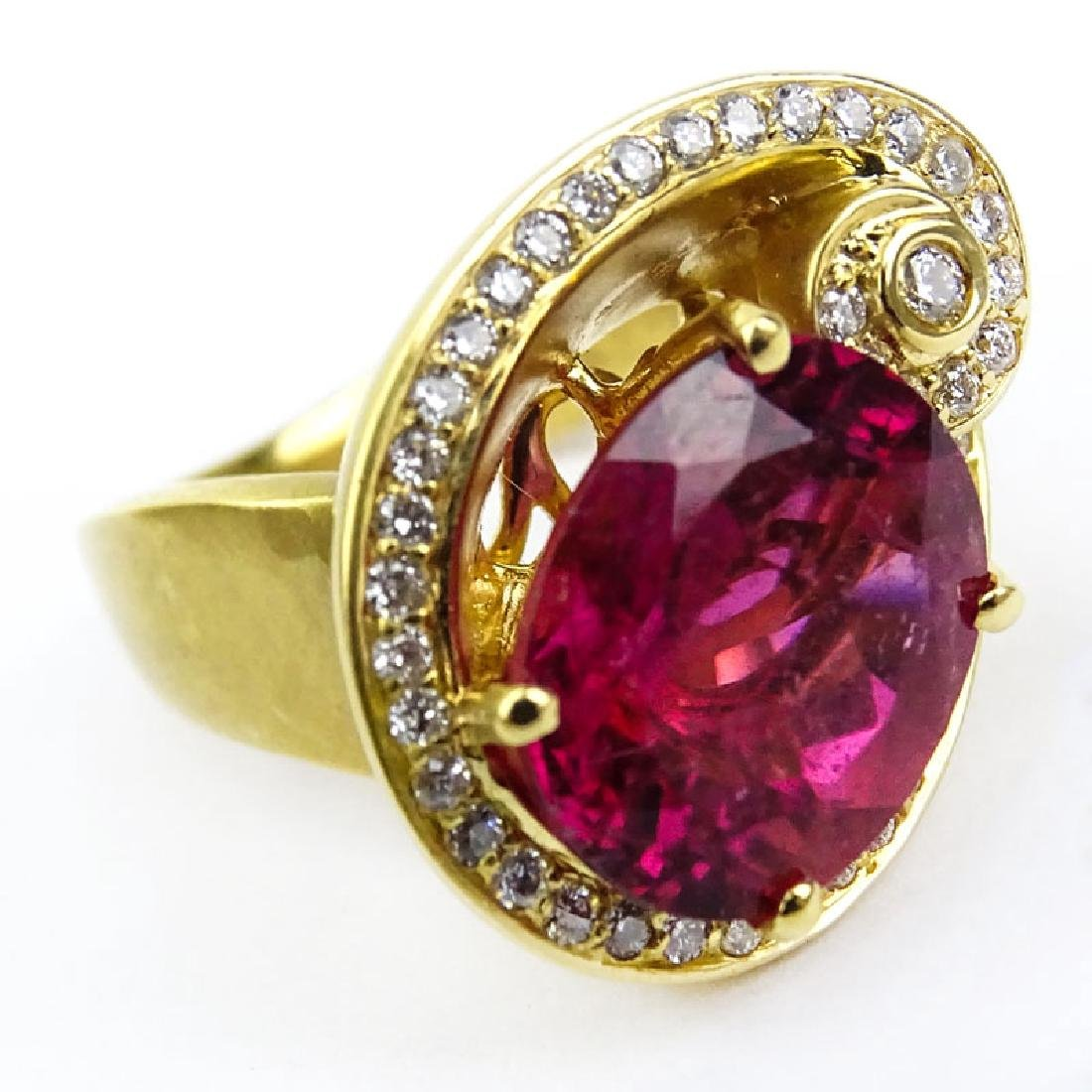 Vintage Oval Cut Rubelite Tourmaline, Diamond and 18 - 2