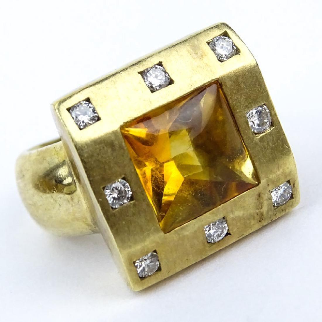 Square Cut Citrine, Diamond and 14 Karat Yellow Gold