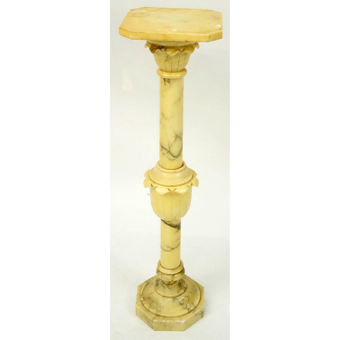 Carved Alabaster Pedestal. Unsigned. Wear and small