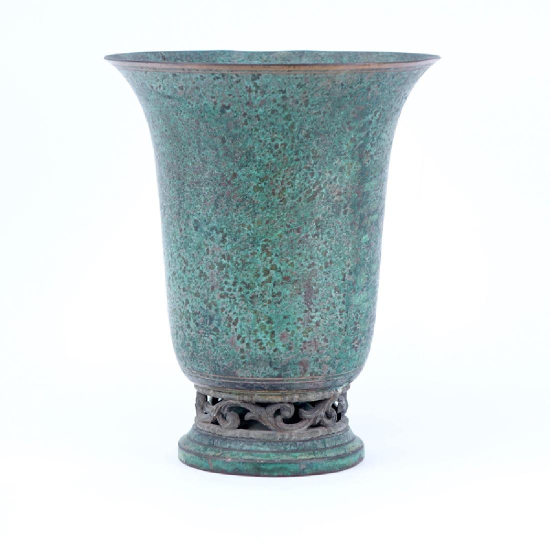 Carl Sorenson Verdigris Patinated Bronze Vase. Signed.