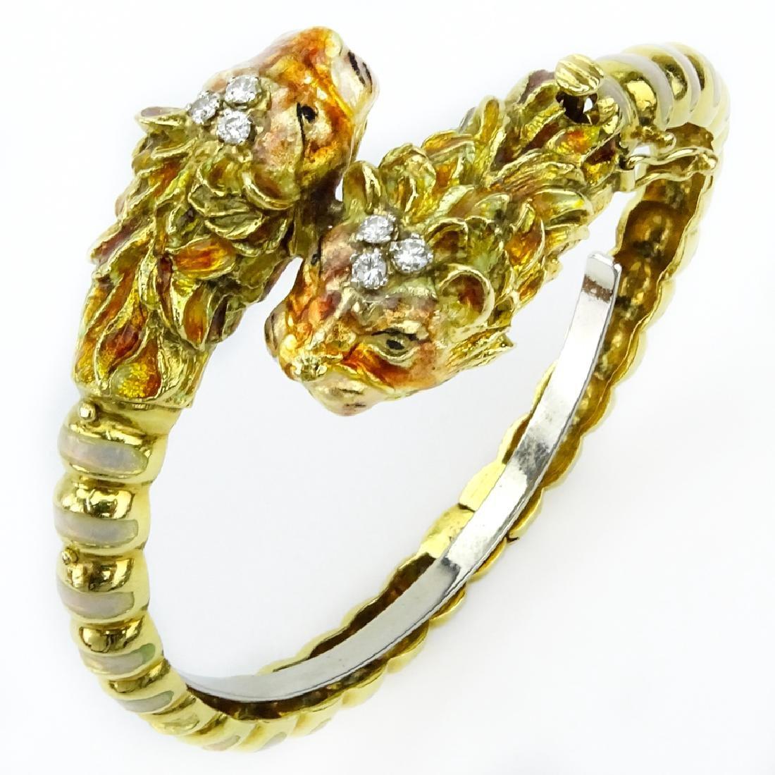 Vintage Italian 18 Karat Yellow Gold Tiger Bangle