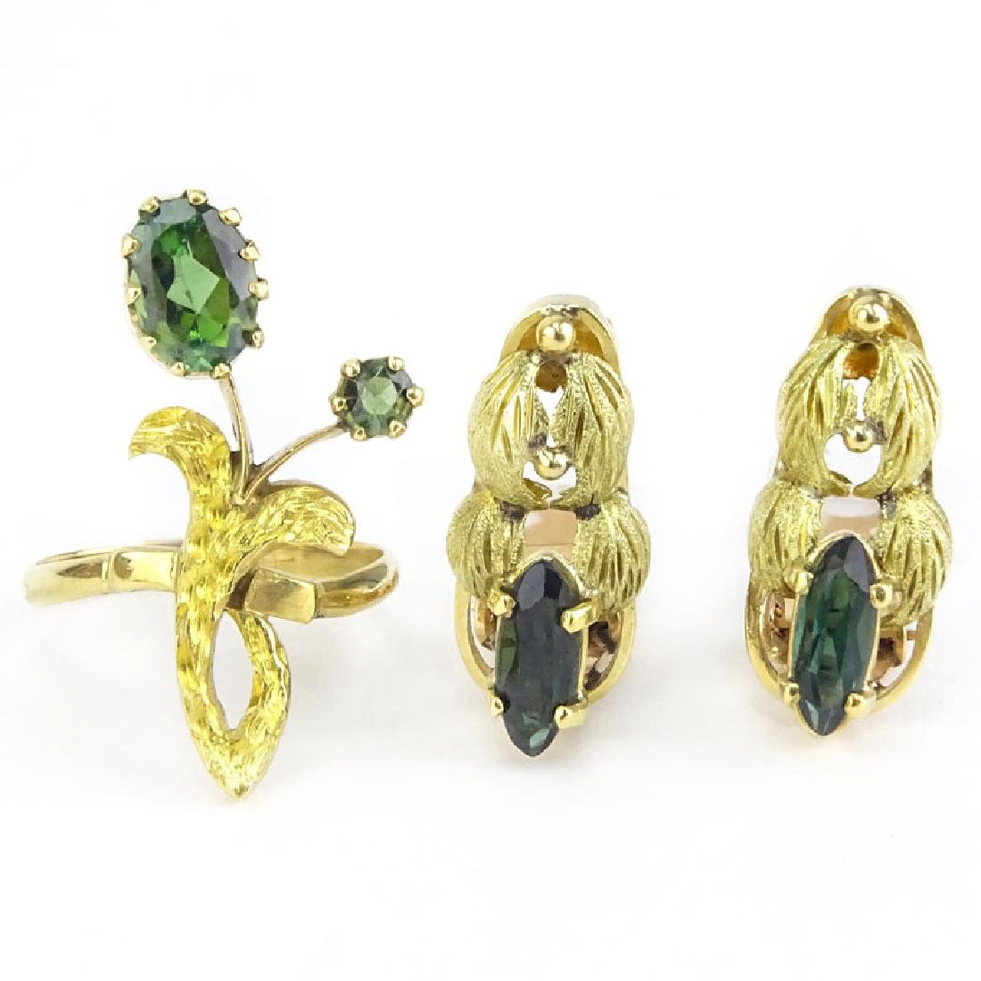 Vintage Green Tourmaline and 18 Karat Yellow Gold