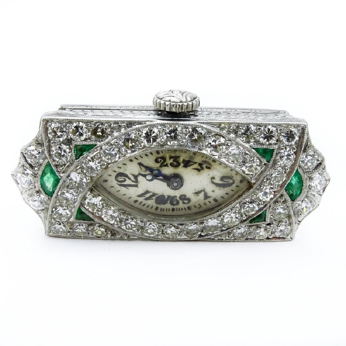 Art Deco Approx. 2.0 Carat Diamond, Emerald and