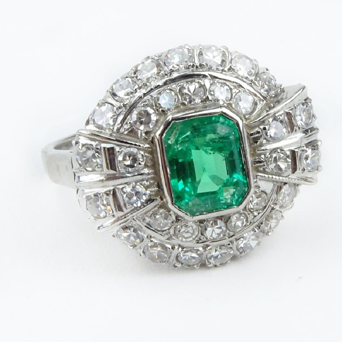 Vintage Approx. 1.75 Carat Emerald and Diamond Platinum