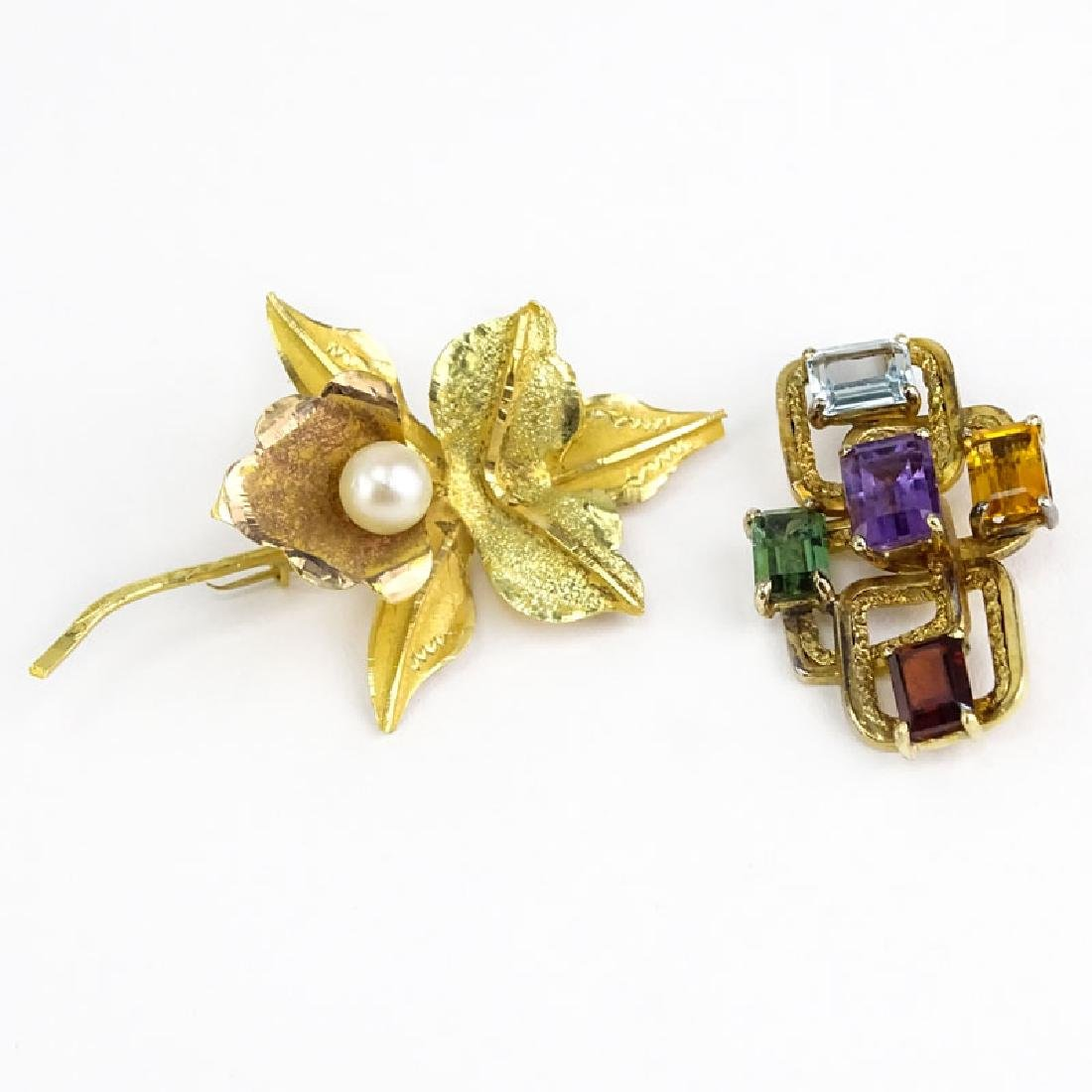 Vintage 18 Karat Yellow Gold and Pearl Flower Brooch