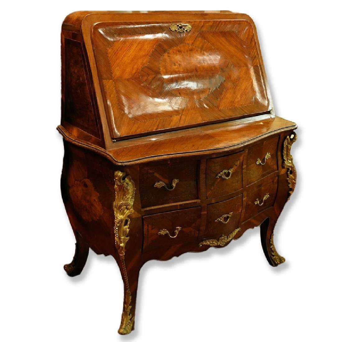 Louis XVI Style Gilt Bronze Mounted, Burlwood and