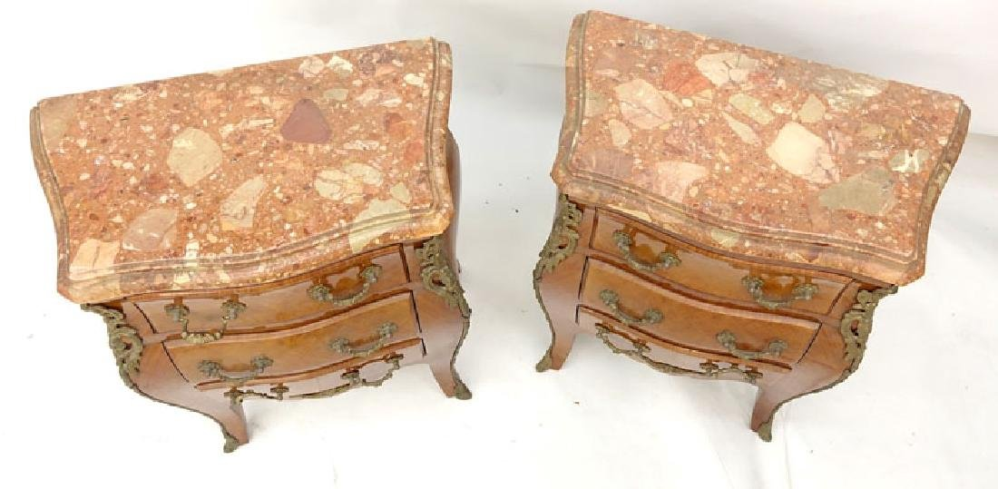 Pair of Louis XV Style Gilt Bronze Mounted Marble Top - 2