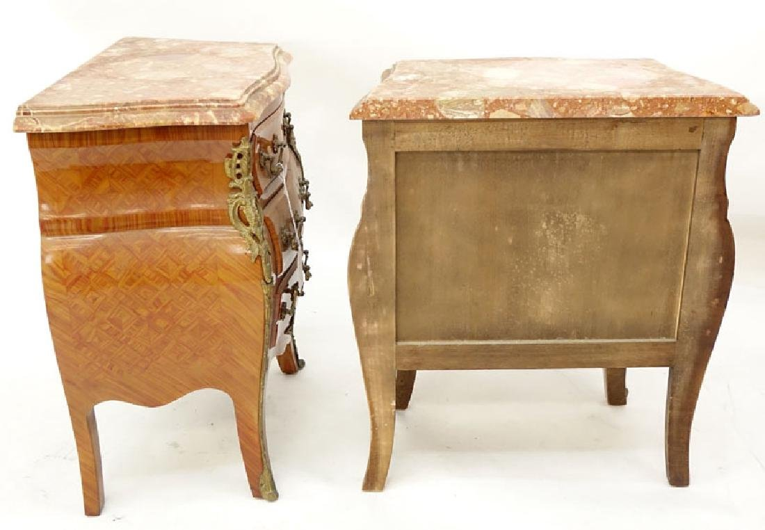 Pair of Louis XV Style Gilt Bronze Mounted Marble Top - 3