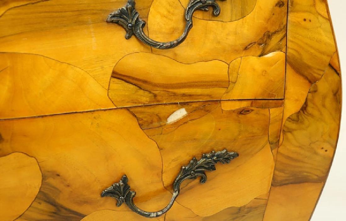 Mid Century Italian Patchwork Burl Wood Inlaid Bombe - 4