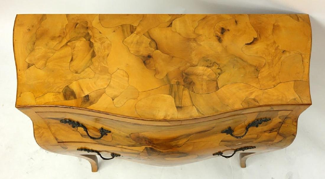 Mid Century Italian Patchwork Burl Wood Inlaid Bombe - 5