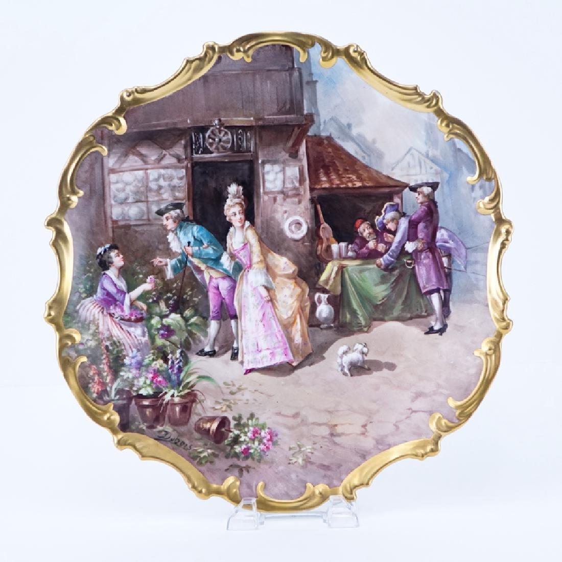 Large Antique Limoges Hand painted Porcelain Charger.