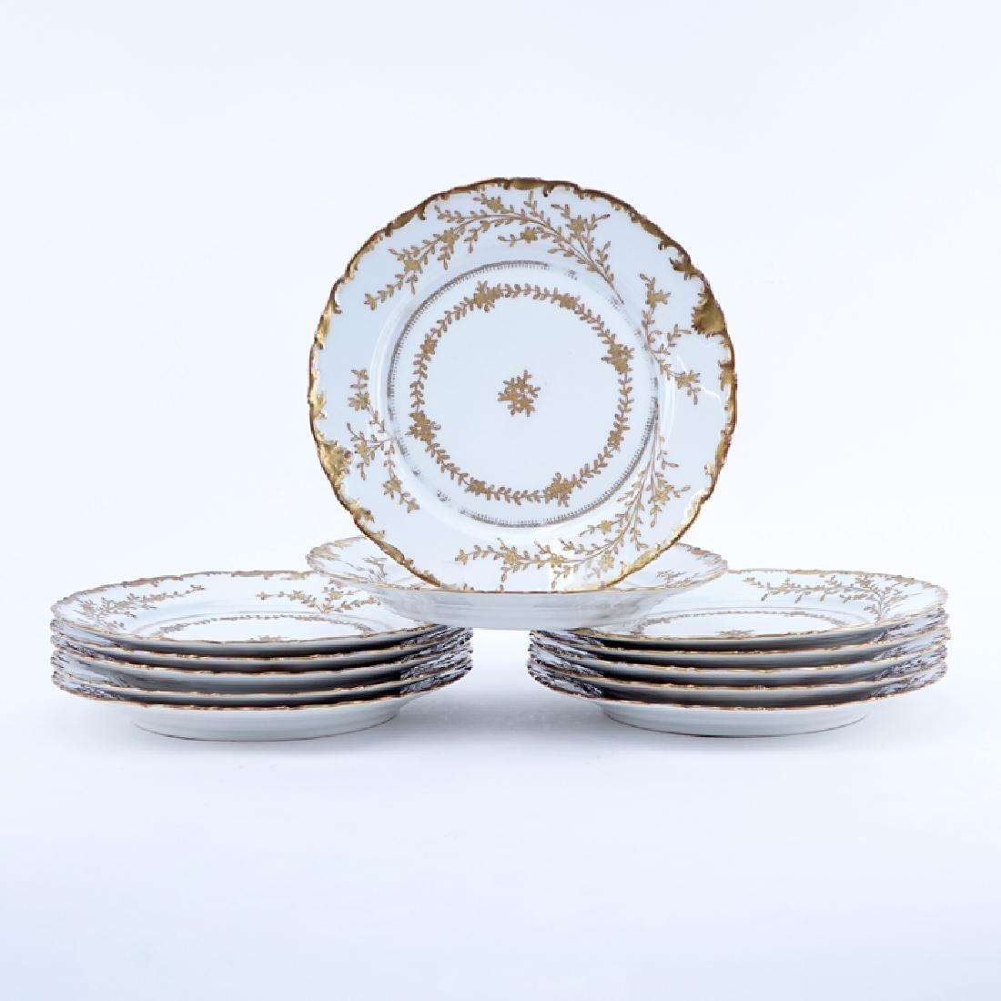 Twelve (12) Limoges For Ovington Brothers Gold
