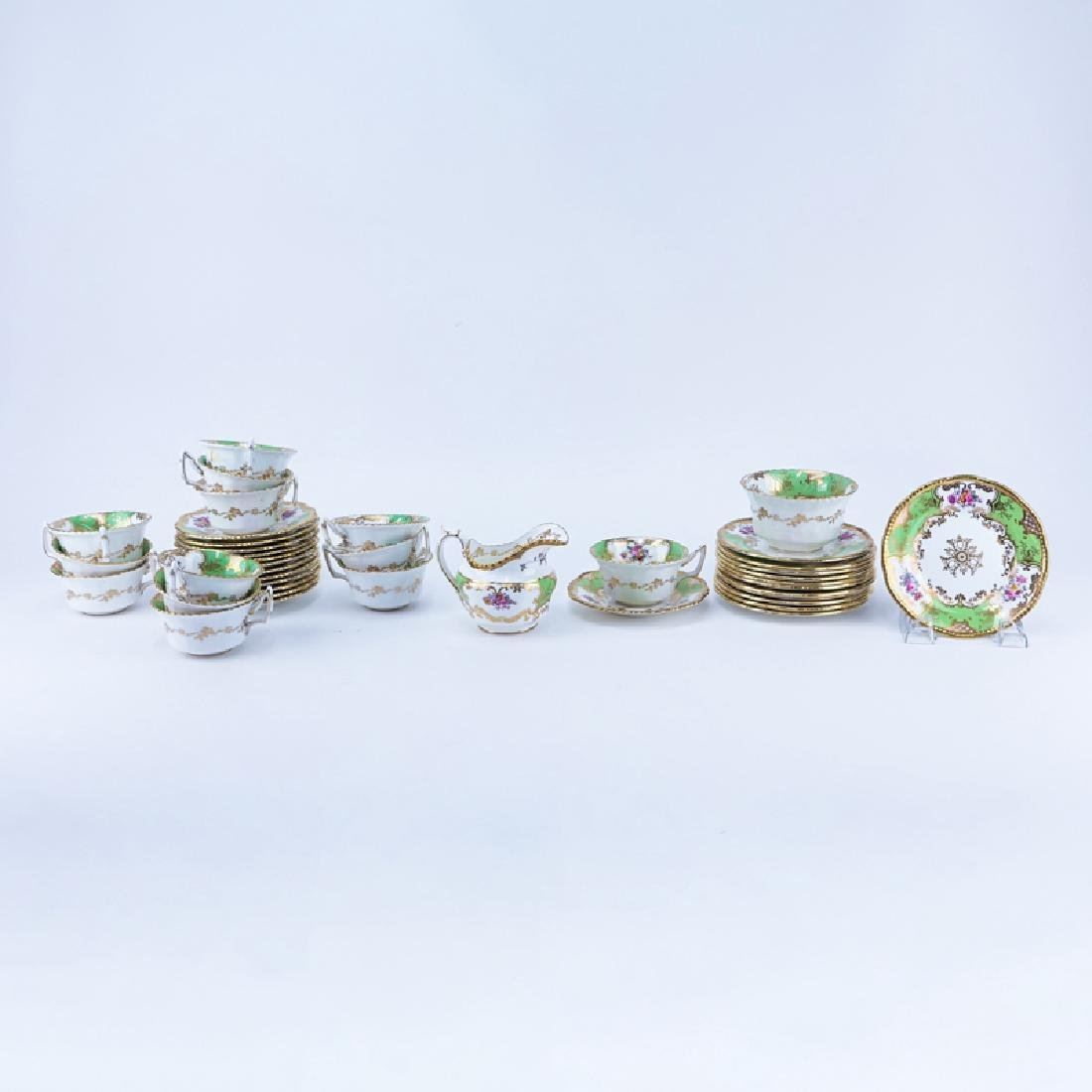 Forty (40) Piece Coalport Panel Green Porcelain Coffee