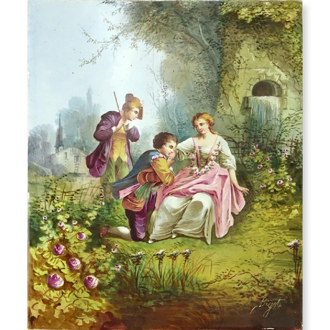 """Antique French Hand Painted Porcelain Plaque. """"Courting"""