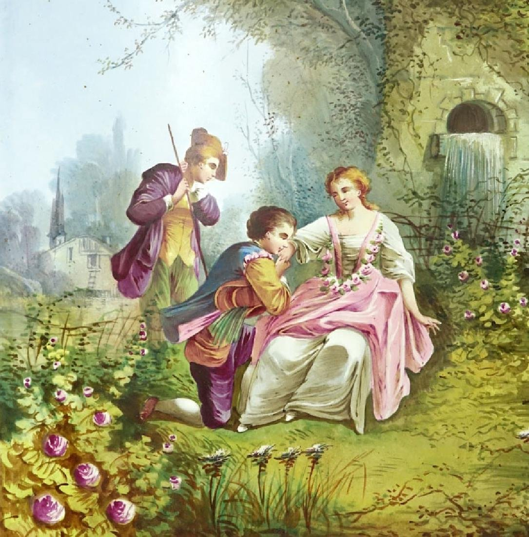 "Antique French Hand Painted Porcelain Plaque. ""Courting - 2"