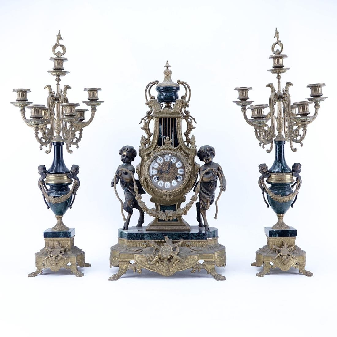 19/20th Century Empire Style Gilt Bronze and Marble