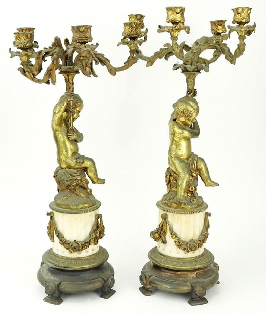 Pair of Louis XVI Style Gilt Base and Marble - 3