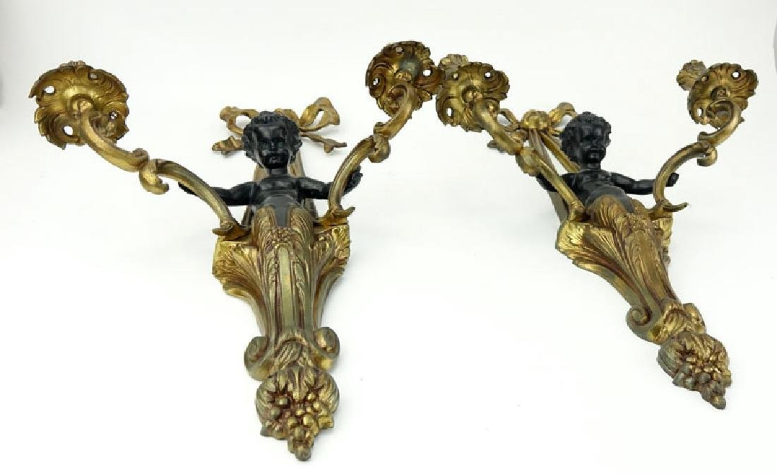 Pair of Louis XVI Style Gilt Bronze Figural Sconces. - 2
