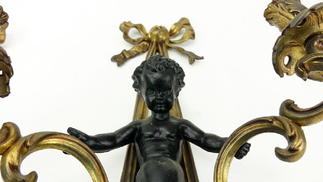 Pair of Louis XVI Style Gilt Bronze Figural Sconces. - 3