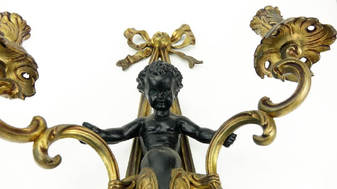 Pair of Louis XVI Style Gilt Bronze Figural Sconces. - 4