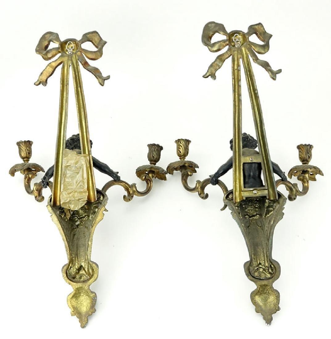 Pair of Louis XVI Style Gilt Bronze Figural Sconces. - 5
