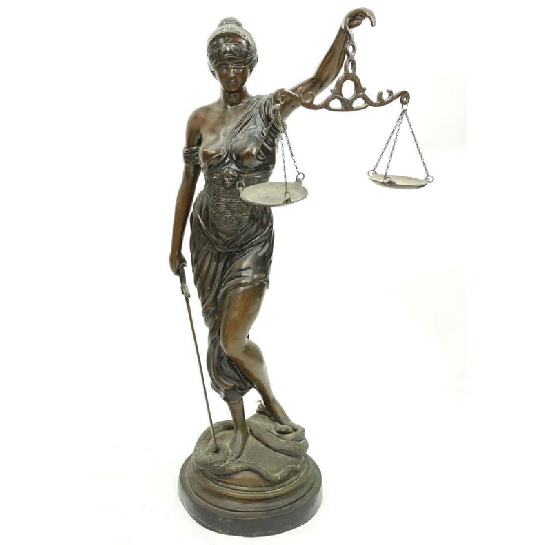 Large Art Nouveau Bronze Sculpture of Blind Justice