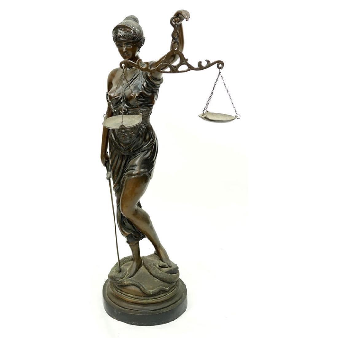 Large Art Nouveau Bronze Sculpture of Blind Justice - 2
