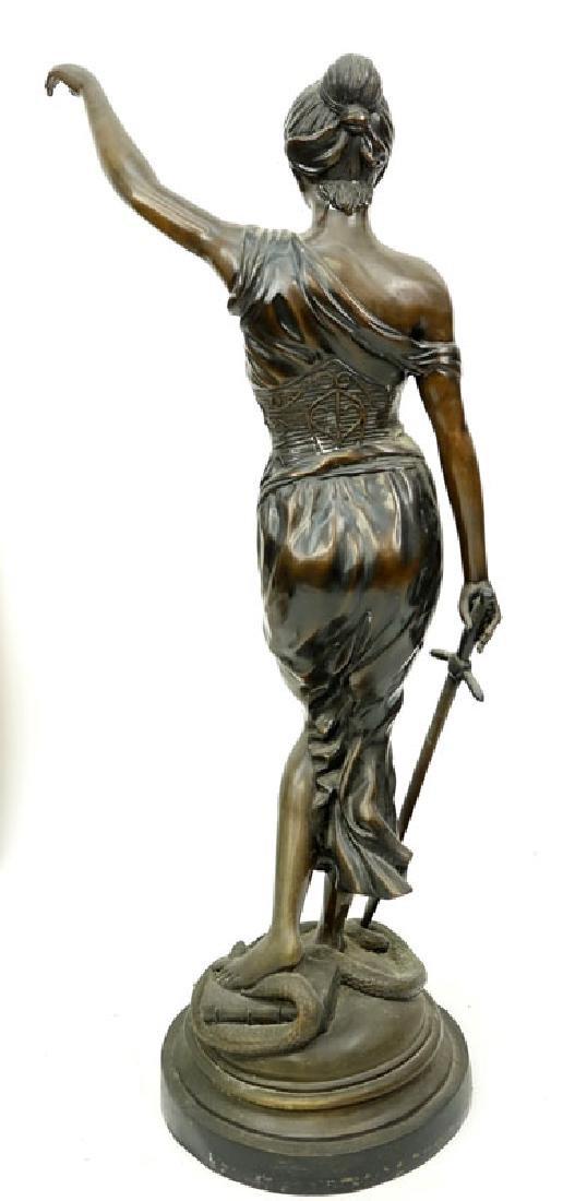 Large Art Nouveau Bronze Sculpture of Blind Justice - 5