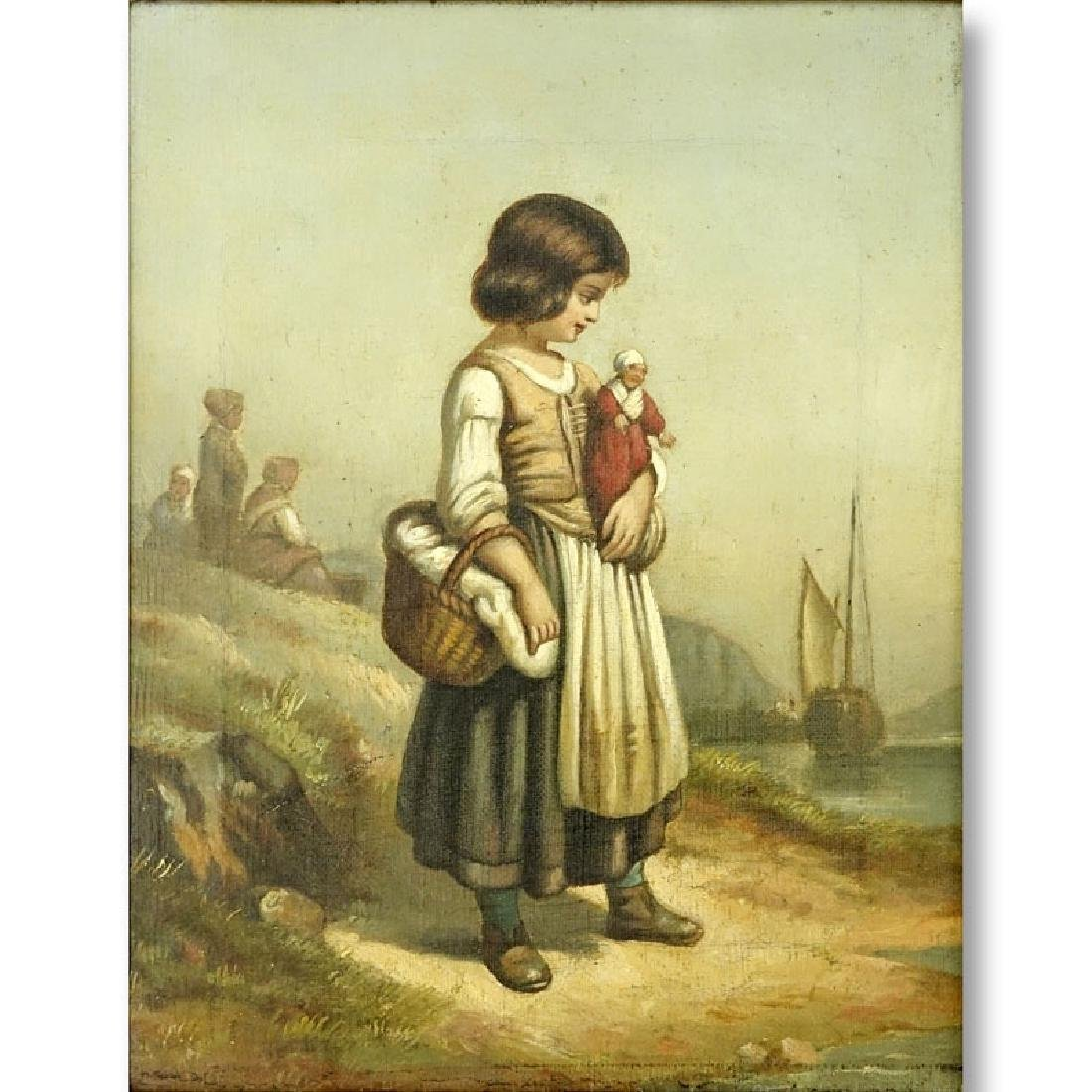 19/20th Century Oil on Canvas of a Young Girl with