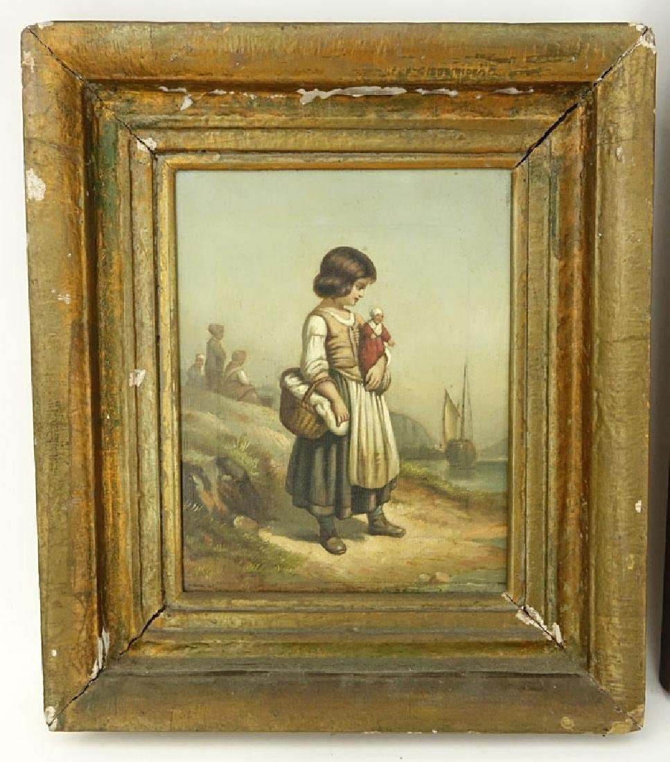 19/20th Century Oil on Canvas of a Young Girl with - 2