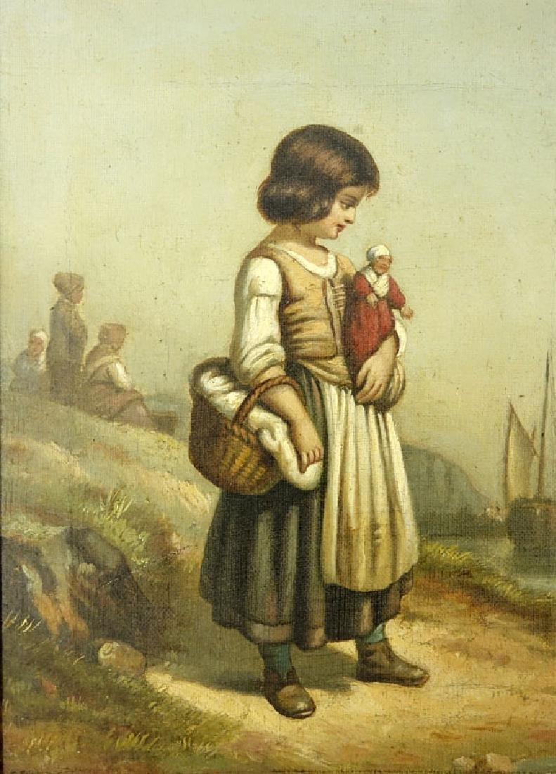 19/20th Century Oil on Canvas of a Young Girl with - 3