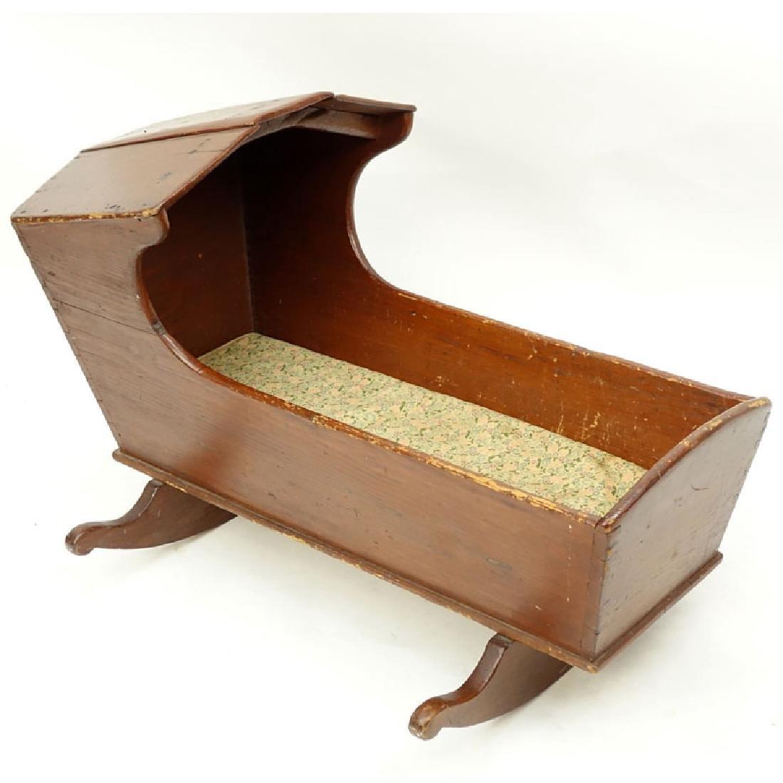 Antique American Wood Cradle. Unsigned. Wear, splits