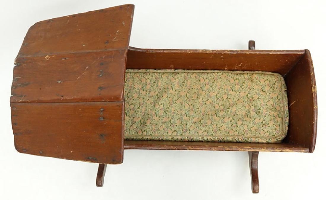Antique American Wood Cradle. Unsigned. Wear, splits - 2