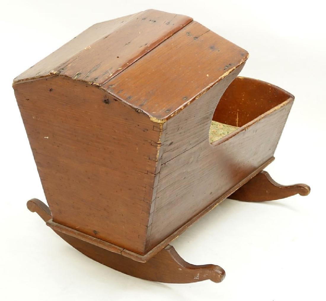 Antique American Wood Cradle. Unsigned. Wear, splits - 4