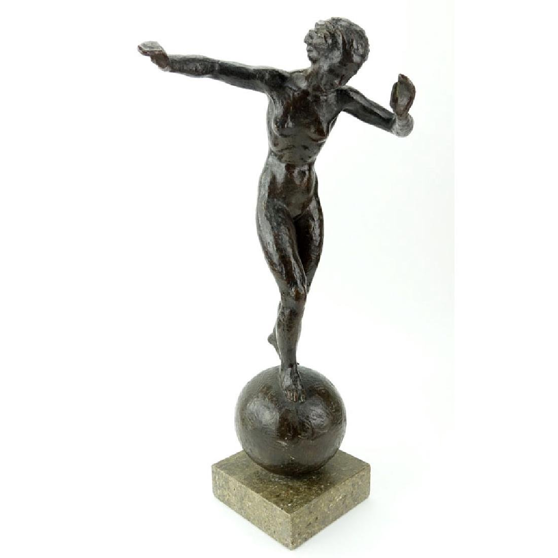 "Art Deco Bronze Figural Sculpture ""Girl On Orb"" On"